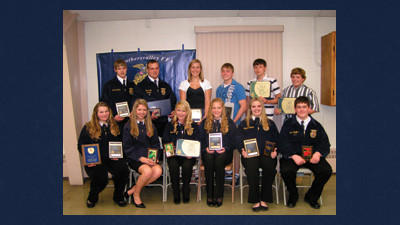 Berlin Brothersvalley FFA Chapter members who earned awards during the 72nd annual banquet held at the Berlin Community Building are from left, front: Jenn Martin, Catherine Metzgar, Megan Brown, Kristin Paul, Amanda Leister and Collin Stoltzfus. In back: Lucas Leister, Sam Dively, Kirsten Ohler, Bryer Schrock, Mitchell Black and Codie Smith.
