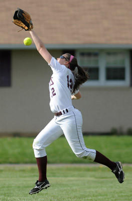 Whitehall's #12 Morgan Rex does not makes the catch in the softball game against Emmaus held at Whitehall H.S. on Tuesday.
