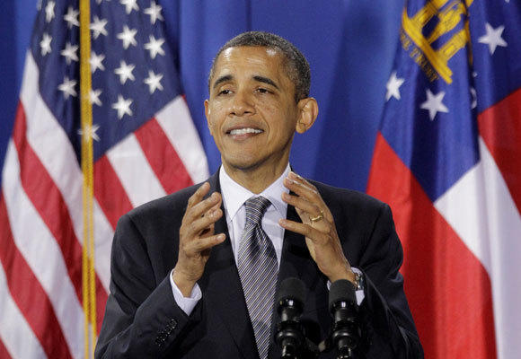 President Barack Obama speaks during a fundraiser at the film studio of actor Tyler Perry in March. Activists have sued the president for signing a military authorization bill which they claim threatens civil liberties.