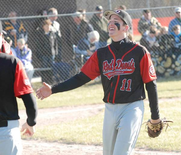 Jordan Harasewicz threw a no-hitter and homered in leading East Jordan to a Lake Michigan Conference sweep of Elk Rapids on Tuesday.