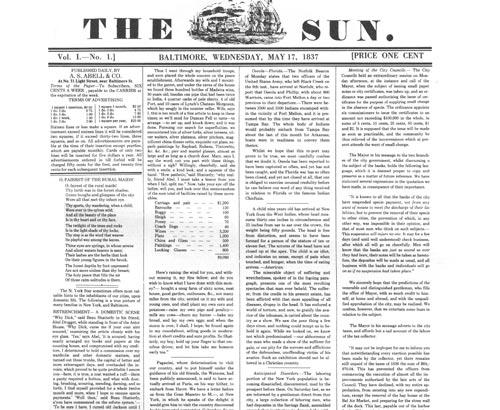 The front page of Volume 1, Number 1.  Published May 17, 1837.