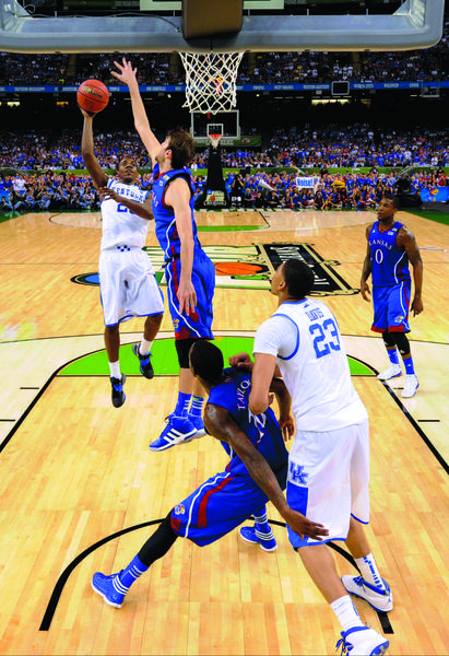Kentucky guard Marquis Teague (25) scored 14 points in the NCAA title game win over Kansas. Teague said his play down the stretch helped convince him that he was ready to move on and play in the NBA.