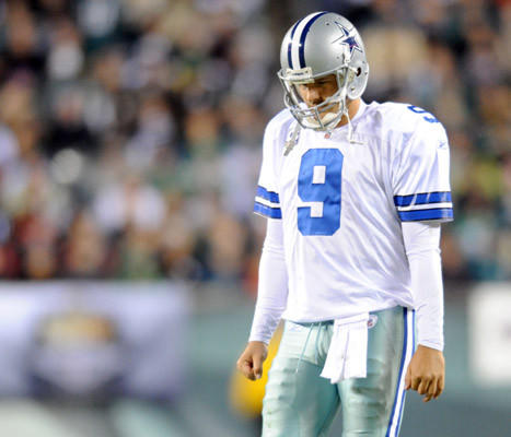 Dallas Cowboys quarterback Tony Romo (9) walks looking dejected against the Philadelphia Eagles  at Lincoln Financial Field in Philadelphia Sunday October 30, 2011.
