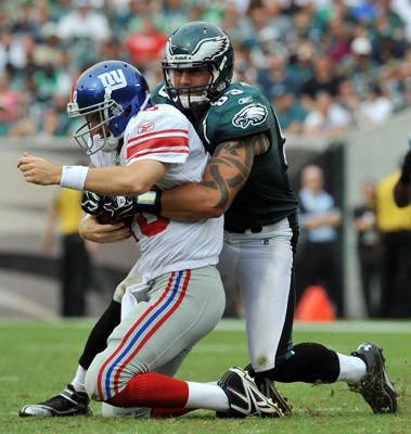 Philadelphia Eagles defensive end Jason Babin (93) sacks New York Giants quarterback Eli Manning (10) during a football game at Lincoln Financial Field in Philadelphia on Sunday.