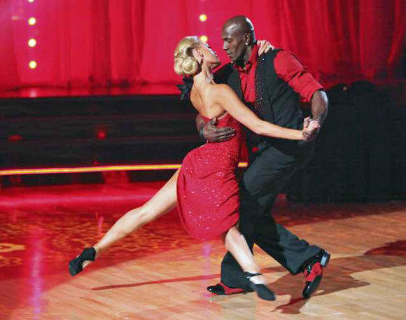 "Donald Driver performs with partner Peta Murgatroyd compete during Week 5 of ""Dancing With the Stars."""