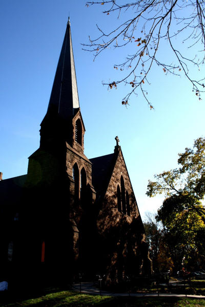 Katie Hawran, a junior at CCSU studying art, is the 1st place finisher. View of Grace Episcopal Church in Windsor Center.
