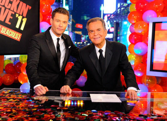 "Ryan Seacrest and Dick Clark host ""Dick Clark's New Year's Rockin' Eve with Ryan Seacrest 2011"" in Times Square on Dec. 31, 2010."