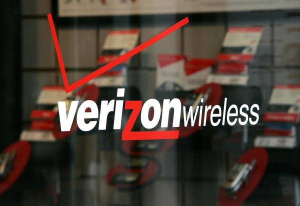 The Verizon logo is seen at a Verizon Wireless store in San Francisco.