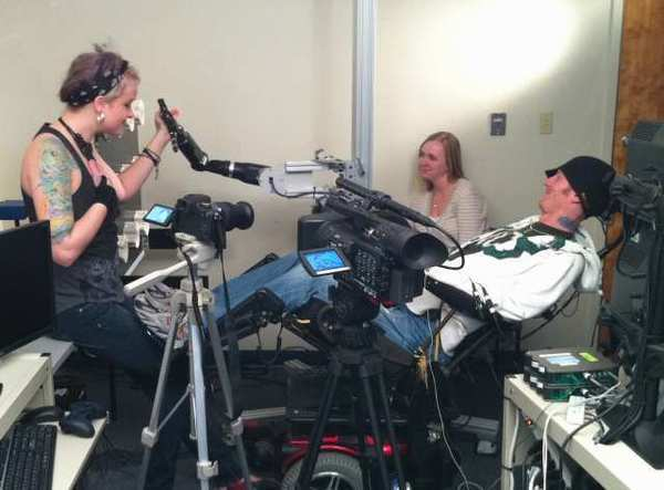 In 2011, quadriplegic research subject Tim Hemmes used a neural prosthetic to reach out and touch his girlfriend's face. A new study could allow quadriplegics a wider range of hand movements.