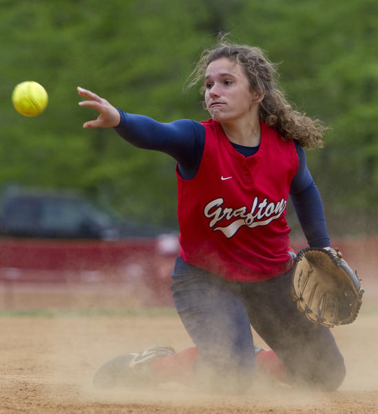 Grafton's Kristen Herndon throws a ground ball to first base in the seventh inning of Wednesday's game against Poquoson.