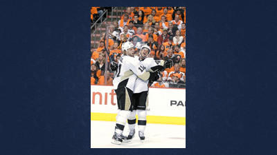 Pittsburgh Penguins' Jordan Staal, left, and Tyler Kennedy celebrate after Staal scored in the second period of Game 4 in a first-round NHL Stanley Cup playoff series against the Philadelphia Flyers on Wednesday.