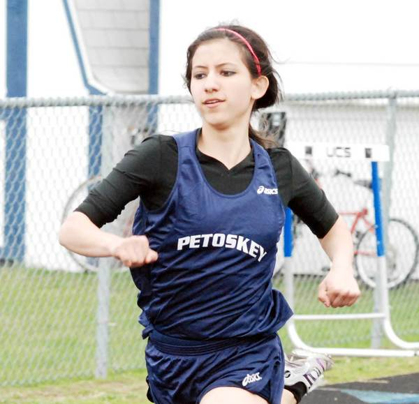 Petoskey senior Samantha Rajewski recorded two firsts and two seconds Wednesday in leading the Northmen during a Big North Conference tri-meet at West Branch Ogemaw Heights.