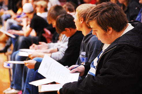Christopher Schultz, a senior from Lake Preston High School, was looking over his test sheet minutes before the 59th annual mathematics contest began on Wednesday at Northern State University.