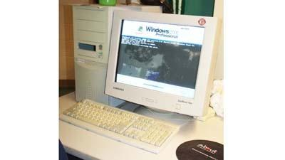 This computer workstation at Petoskey Middle School is one of many in the Petoskey district's inventory that date back more than a decade.