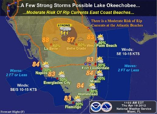Strong storms might form near Lake Okeechobee on Thursday. More stormy weather is expected over the weekend.