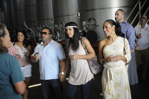 "Kathy Wakile, Joe Giudice, Teresa Giudice and Melissa Gorga in the season premiere, ""High Tide, Low Blow."""