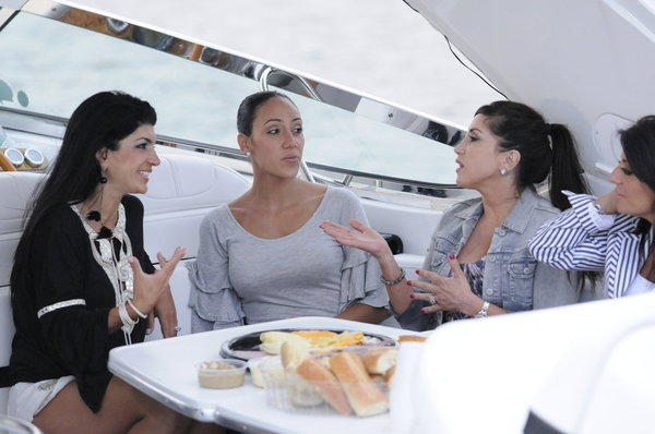 "Teresa Giudice, Melissa Gorga, Jacqueline Laurita and Kathy Wakile in the season premiere, ""High Tide, Low Blow."""
