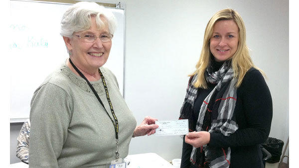 Otsego Memorial Hospital Auxiliary Treasurer Sandy Laginess (l) presents OMH Foundation Coordinator Kim Biddinger a $15,000 check. The check represents the first payment toward the Auxiliarys 2012 $40,000 pledge. The initial payment purchases a Philips HeartStart Telemedicine Unit for the Emergency Department and a treadmill for Cardiac Rehabilitation. The OMH Auxiliary fundraises through the Pink Awning Gift Shop and by hosting events such as the Cherry Pink Dinner Dance.