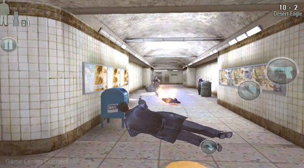 "A screenshot from the first few minutes of ""Max Payne"" for an iPhone 4S."