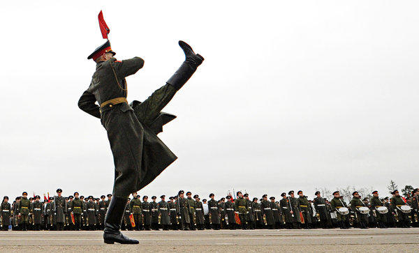 A Russian soldier marches during a rehearsal of the Victory Day Parade in Alabino, Russia, outside Moscow, on Wednesday. The parade will take place in Red Square on May 9 to commemorate the 1945 defeat of Nazi Germany.