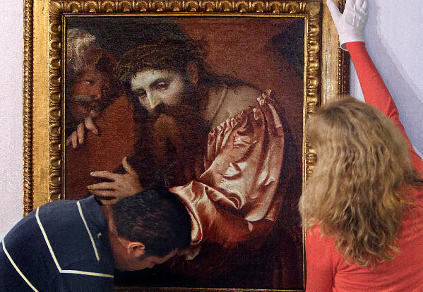 "This painting by Girolamo Romani, titled ""Christ Carrying the Cross Dragged By A Rascal,"" was stolen by Nazis."