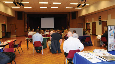 Former Fleetwood workers gather to learn more about job opportunities.