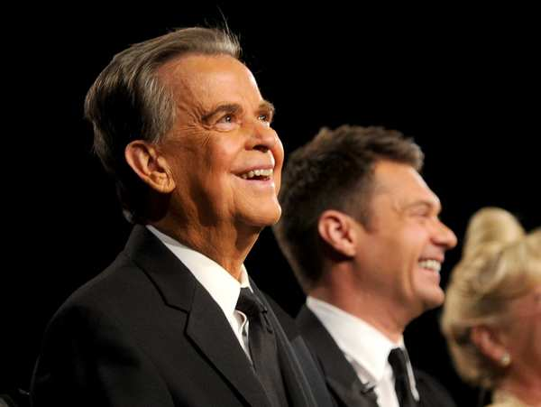 "Nicknamed ""America's oldest teenager"" because of his seemingly eternal young looks, <a href=""http://www.latimes.com/news/obituaries/la-me-dick-clark-obit-20120419,0,6380009.story"">Dick Clark died Wednesday at 82</a>. The television personality and impresario introduced rock 'n' roll to much of the nation on ""American Bandstand"" and for four decades was the first and last voice many Americans heard each year with his New Year's Eve countdowns."