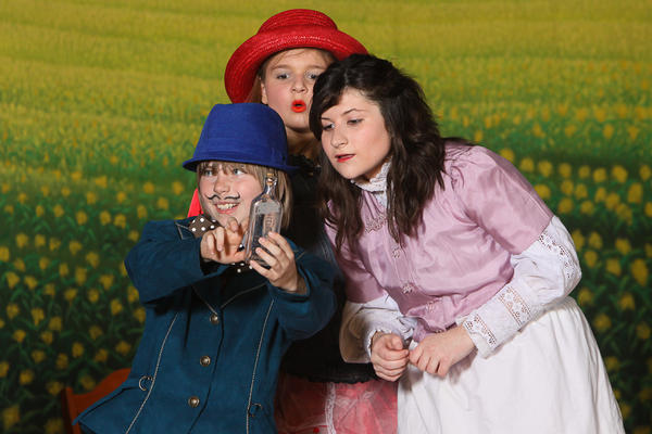 "Brady Johnson, left, plays Ali Hakim, Addie Prosser, center, plays Ado Annie and Amelia Bickford plays Laurey Williams in the Hagerstown CHildren's Theater production of ""Oklahoma"" April 20 through April 22."