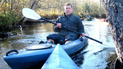Scott Doederlein paddles the Manistee River