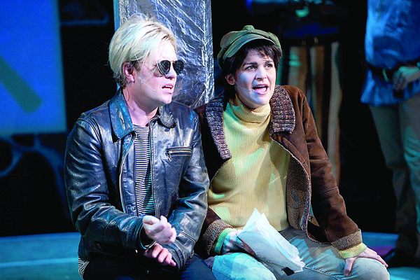"Tom Story as Andy Warhol and Rachel Zampelli as Valerie Solanas starred in the Washington, D.C., Studio Theatre production of ""Pop!"" Both Story and Zampelli have been nominated for Helen Hayes Awards. Winners of the prestigious regional theater award will be announced Monday evening."