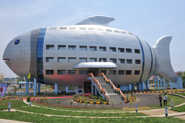 A general view shows the newly opened National Fisheries Development Board (NFDB) building, designed to resemble a fish, in Hyderabad on April 20, 2012. The National Fisheries Development Board (NFDB) functions as a coordinating mechanism between different fishery agencies and a platform for partnerships.