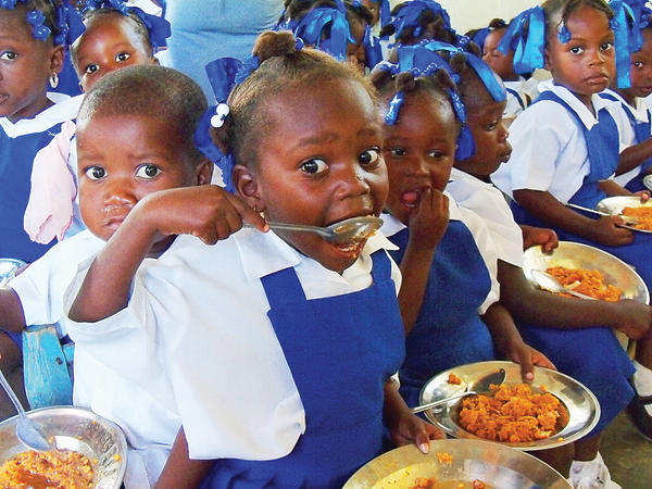 These Haitian students are part of the St. Ann Catholoic Church's Littlest Angel program. The more than 600 pre-kindergarten children are fed daily thanks to Lenten donations. The Hagerstown-based church helped the people of the island thanks to their sister parish, St. Claire Catholic Church in Dessalines, Haiti.
