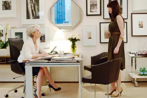 "Magazine editor Miranda Priestly (Meryl Streep) communes with her employee (Anne Hathaway) in ""The Devil Wears Prada."" More women are prioritizing their careers."