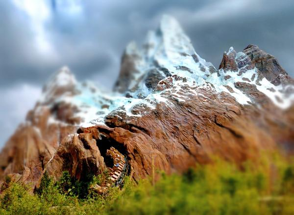 "Looking like a toy model, the peaks of Expedition Everest,  the Himalayan-themed roller coaster at Disney's Animal Kingdom, Friday, January 20, 2006. This image was manipulated in post-photography editing, using a ""tilt-shift"" filter, to mimic the effect of traditional miniature photography."