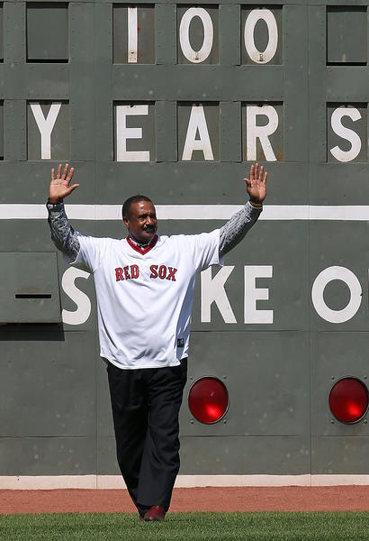 Jim Rice, a part of many Red Sox-Yankee battles, acknowledges the crowd.