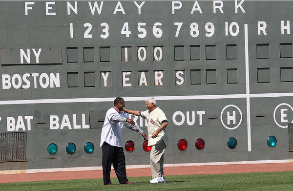 Jim Rice and Yaz meet in left field, their old home.
