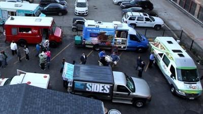Food truck meet up in Chicago.