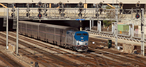 An Amtrak train departs Union Station in October 2011.