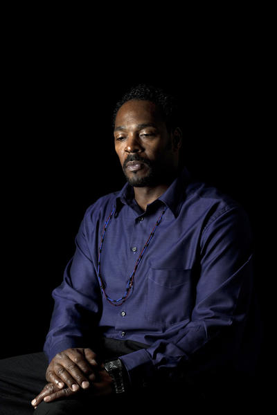 Rodney King in the Los Angeles Times studio.