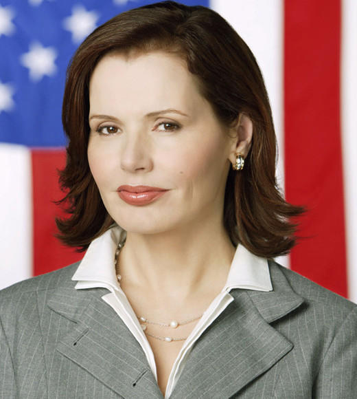 From 'Veep' to '24': Vice Presidents on TV: Played by: Geena Davis   Party: Republican   Term: When President Bridges dies, VP Allen becomes the first female President of the United States.