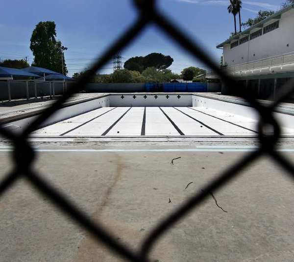 The empty swimming pool at Verdugo Park. The pool has been closed since 2009, and was a former training site for the 1984 Olympics.