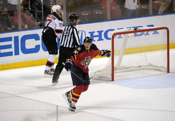 Florida Panthers Tomas Kopecky is credited with scoring a goal during the third period against the New Jersey Devils