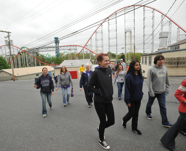 Participants walk in the 2012 March for Babies at Dorney Park & Wildwater Kingdom, in South Whitehall Township on Sunday. March for Babies is the March of Dimes¿ premier fundraising event that benefits area babies. With chapters nationwide the March of Dimes works to improve the health of babies by preventing birth defects, premature birth and infant mortality.