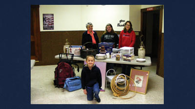Berlin Brethren and Holy Trinity Lutheran Church will be holding its annual basement sale, rummage sale and bake sale from 9 a.m. until 1 p.m. Saturday at the Berlin Community Building. From left are: Donna Paul, Kyrsten Yeager, Lorrie Shaw and Colton Yeager.