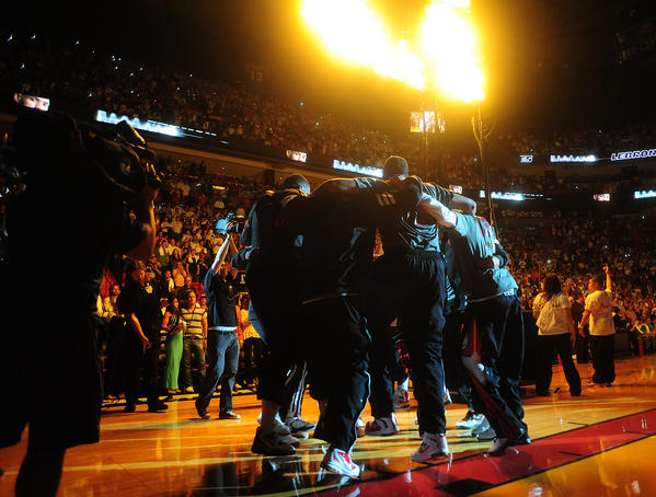 Miami Heat are introduced before the last home game against the Houston Rockets, Sunday, April 22, 2012 at the AmericanAirlines Arena in Miami.