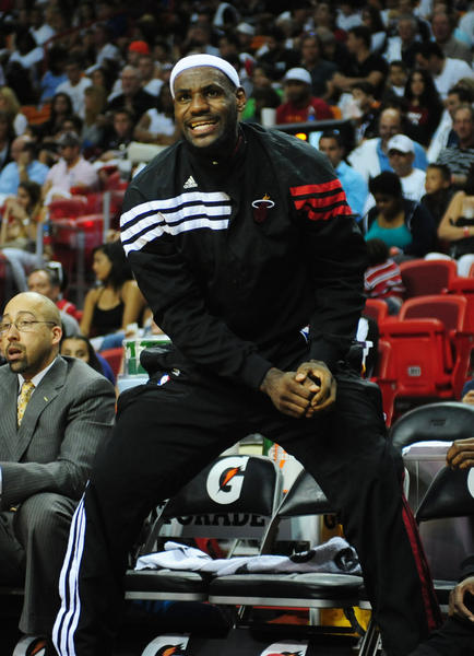 Miami Heat LeBron James argues a foul call  from the bench  during the second quarter of the last home game against the Houston Rockets, Sunday, April 22, 2012 at the AmericanAirlines Arena in Miami.