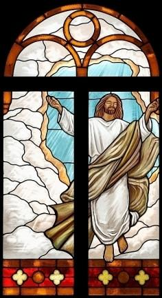 A blissful Jesus ascends in this stained-glass window in the DeSantis Family Chapel at Palm Beach Atlantic University, West Palm Beach. James D. Davis