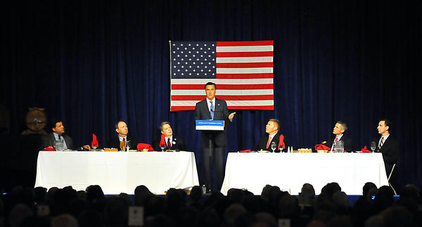 Republican presidential candidate Mitt Romney speaks Sunday at the Franklin County Republican Committee's Lincoln Day Dinner at Green Grove Garens near Greencastle, Pa.