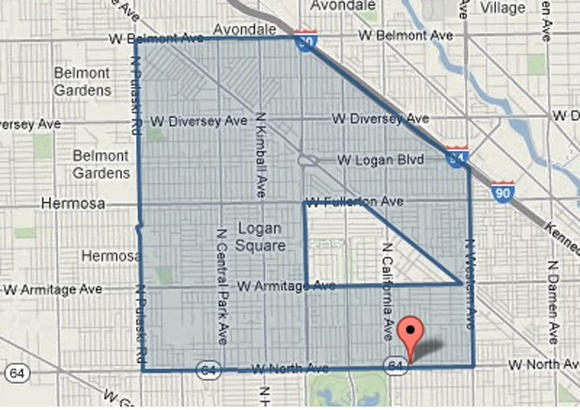 Approximate location in the Logan Square neighborhood where two men were shot this evening.