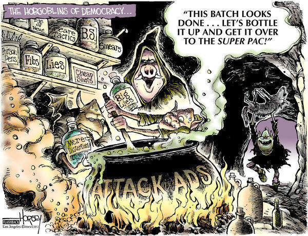 "This updated Horsey cartoon anticipates the role attack ads and ""super PACs"" will play in the 2012 election."
